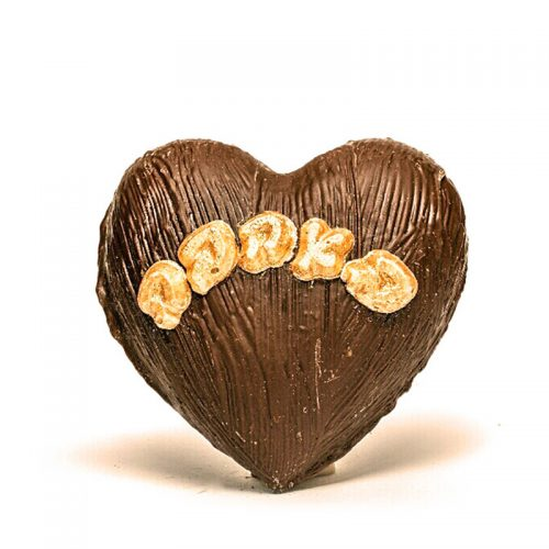 """אריזת לב משוקולד בתוספת כיתוב """"באהבה"""" משוקולד זהב אכיל"""