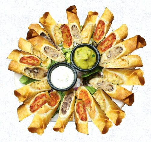 צ'ימיצ'אנגה מאכל מקסיקני בצורת רול מטורטיה קריספיבמגוון מילויים: - פלפלים קלויים וגבינת צ'דר - רצועות חציל ובולגרית מעודנת בתוספת שום קונפי - גוואקמולי , בצל ומיקס גבינות קשות, מגיע לצד מטבל סלסה מקסיקנית מובחרת 40 יחידות מסודרות על מגש לצד דיפ פסטו/סלסה מקסיקנית, ארוז ומוכן להגשה בעבודת יד, מחומרי הגלם האיכותיים ביותר,
