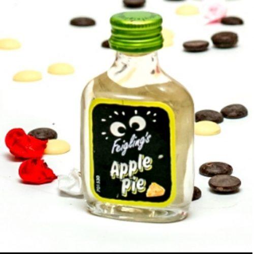 """מיני פיג'ליג פאי תפוח בבקבוקון מיניאטורי עם פקק הברגה מיני פיג'ליג פאי תפוחים עשוי על בסיס וודקה המזוקקת 3 פעמים. 20 מ""""ל בבקבוק"""